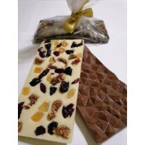 Kézműves Fehér Csokoládé Aszalt Gyümölcsökkel, Kézzel Készült 100 g