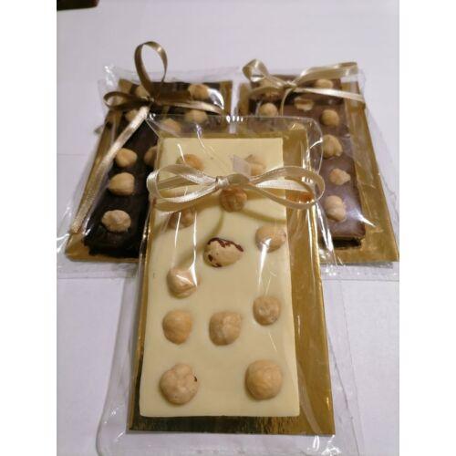 Kézműves Belga Ét Csokoládé Egész Mogyoróval, Kézzel Készült, 55 g